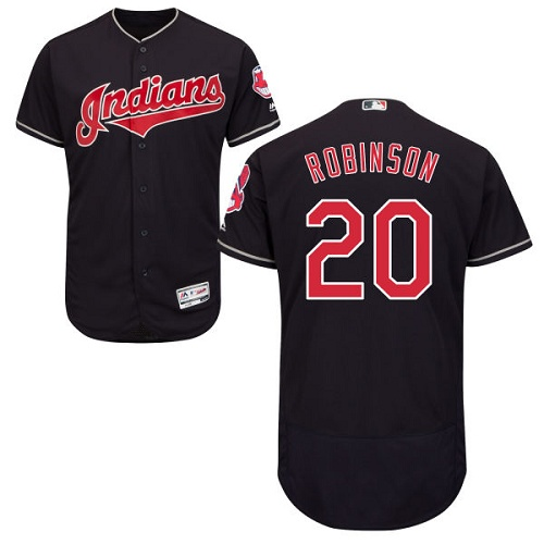 Men's Majestic Cleveland Indians #20 Eddie Robinson Navy Blue Flexbase Authentic Collection MLB Jersey