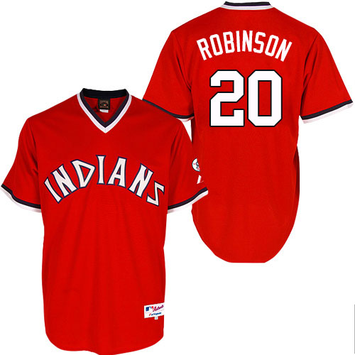 Men's Majestic Cleveland Indians #20 Eddie Robinson Replica Red 1974 Turn Back The Clock MLB Jersey