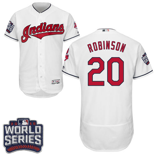 Men's Majestic Cleveland Indians #20 Eddie Robinson White 2016 World Series Bound Flexbase Authentic Collection MLB Jersey