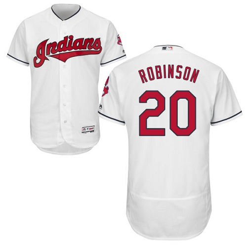 Men's Majestic Cleveland Indians #20 Eddie Robinson White Flexbase Authentic Collection MLB Jersey