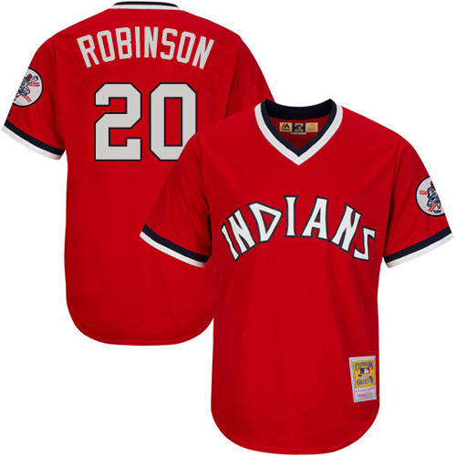 Men's Mitchell and Ness Cleveland Indians #20 Eddie Robinson Authentic Red Throwback MLB Jersey