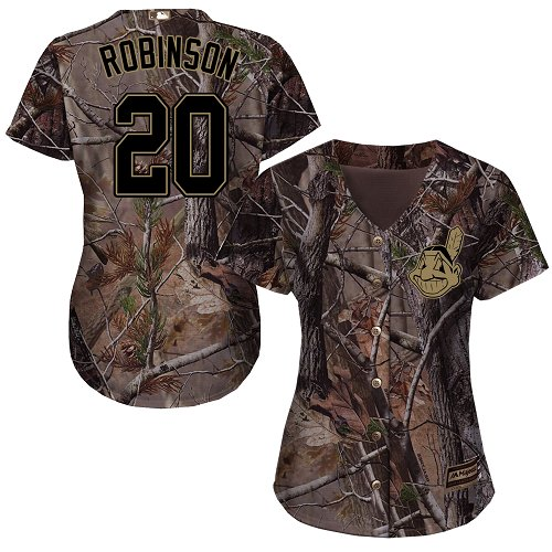 Women's Majestic Cleveland Indians #20 Eddie Robinson Authentic Camo Realtree Collection Flex Base MLB Jersey