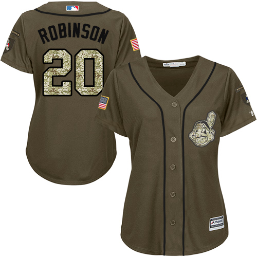 Women's Majestic Cleveland Indians #20 Eddie Robinson Authentic Green Salute to Service MLB Jersey