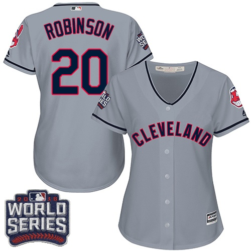 Women's Majestic Cleveland Indians #20 Eddie Robinson Authentic Grey Road 2016 World Series Bound Cool Base MLB Jersey