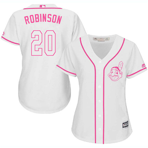 Women's Majestic Cleveland Indians #20 Eddie Robinson Authentic White Fashion Cool Base MLB Jersey