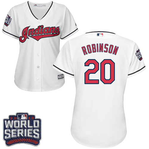 Women's Majestic Cleveland Indians #20 Eddie Robinson Authentic White Home 2016 World Series Bound Cool Base MLB Jersey