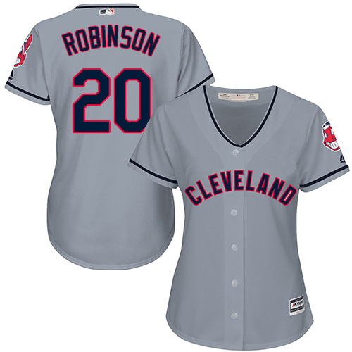 Women's Majestic Cleveland Indians #20 Eddie Robinson Replica Grey Road Cool Base MLB Jersey