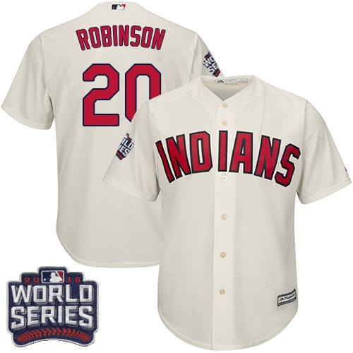 Youth Majestic Cleveland Indians #20 Eddie Robinson Authentic Cream Alternate 2 2016 World Series Bound Cool Base MLB Jersey