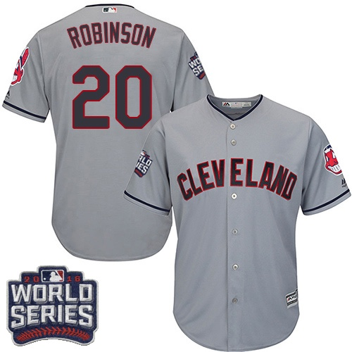 Youth Majestic Cleveland Indians #20 Eddie Robinson Authentic Grey Road 2016 World Series Bound Cool Base MLB Jersey