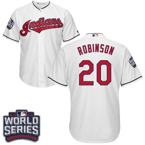 Youth Majestic Cleveland Indians #20 Eddie Robinson Authentic White Home 2016 World Series Bound Cool Base MLB Jersey