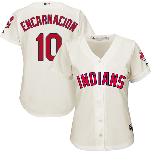 Women's Majestic Cleveland Indians #10 Edwin Encarnacion Authentic Cream Alternate 2 Cool Base MLB Jersey