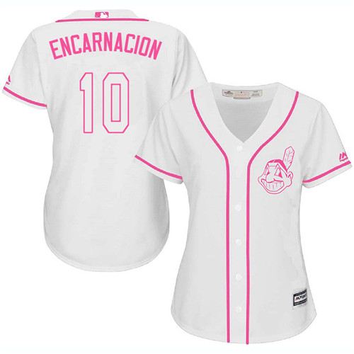 Women's Majestic Cleveland Indians #10 Edwin Encarnacion Authentic White Fashion Cool Base MLB Jersey