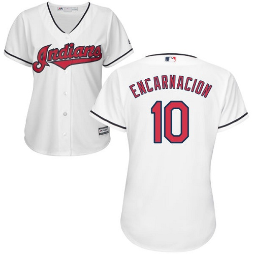 Women's Majestic Cleveland Indians #10 Edwin Encarnacion Replica White Home Cool Base MLB Jersey
