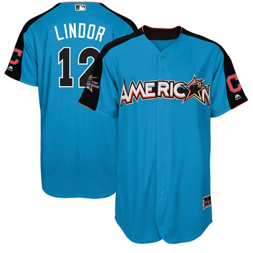 Men's Majestic Cleveland Indians #12 Francisco Lindor Authentic Blue American League 2017 MLB All-Star MLB Jersey