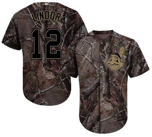 Men's Majestic Cleveland Indians #12 Francisco Lindor Authentic Camo Realtree Collection Flex Base MLB Jersey