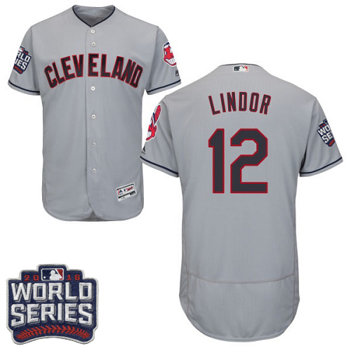 Men's Majestic Cleveland Indians #12 Francisco Lindor Grey 2016 World Series Bound Flexbase Authentic Collection MLB Jersey