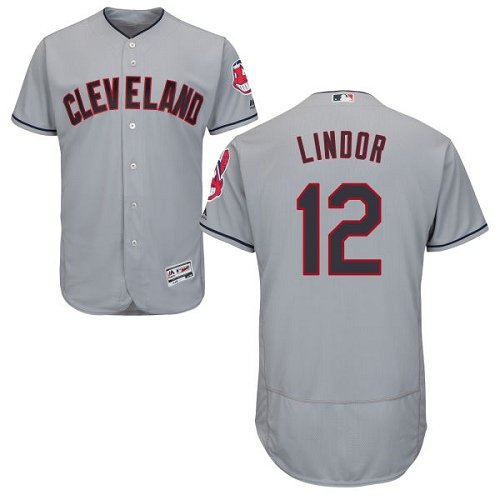 Men's Majestic Cleveland Indians #12 Francisco Lindor Grey Road Flex Base Authentic Collection MLB Jersey