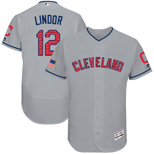 Men's Majestic Cleveland Indians #12 Francisco Lindor Grey Stars & Stripes Authentic Collection Flex Base MLB Jersey