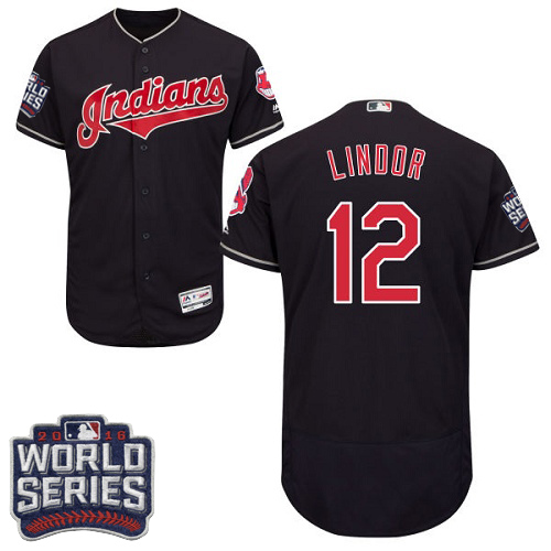 Men's Majestic Cleveland Indians #12 Francisco Lindor Navy Blue 2016 World Series Bound Flexbase Authentic Collection MLB Jersey