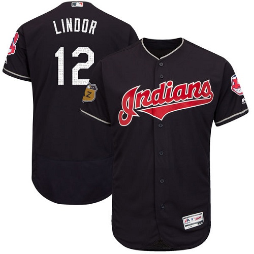 Men's Majestic Cleveland Indians #12 Francisco Lindor Navy Blue 2017 Spring Training Authentic Collection Flex Base MLB Jersey