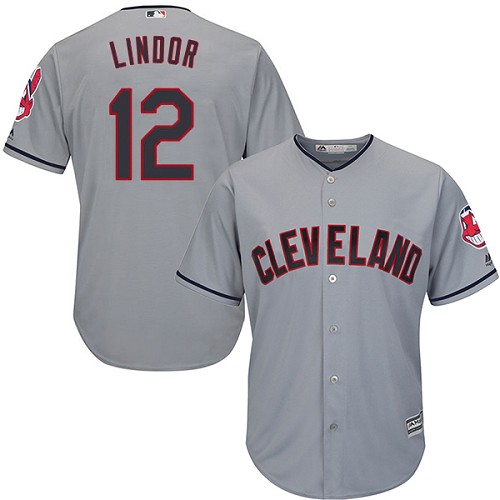 Men's Majestic Cleveland Indians #12 Francisco Lindor Replica Grey Road Cool Base MLB Jersey