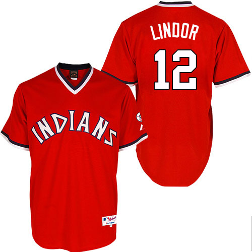 Men's Majestic Cleveland Indians #12 Francisco Lindor Replica Red 1974 Turn Back The Clock MLB Jersey