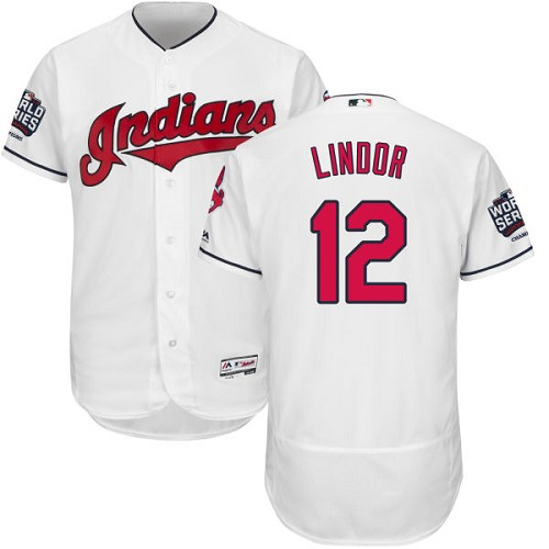 Men's Majestic Cleveland Indians #12 Francisco Lindor White 2016 World Series Bound Flexbase Authentic Collection MLB Jersey