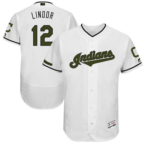 Men's Majestic Cleveland Indians #12 Francisco Lindor White Memorial Day Authentic Collection Flex Base MLB Jersey