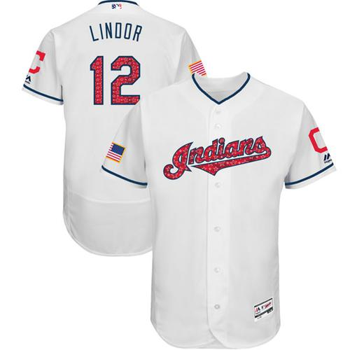 Men's Majestic Cleveland Indians #12 Francisco Lindor White Stars & Stripes Authentic Collection Flex Base MLB Jersey