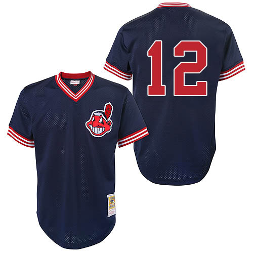Men's Mitchell and Ness Cleveland Indians #12 Francisco Lindor Replica Blue Throwback MLB Jersey