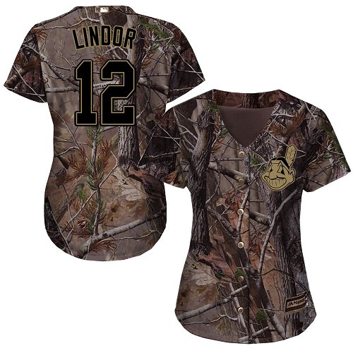 Women's Majestic Cleveland Indians #12 Francisco Lindor Authentic Camo Realtree Collection Flex Base MLB Jersey
