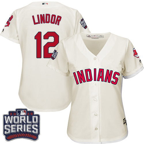 Women's Majestic Cleveland Indians #12 Francisco Lindor Authentic Cream Alternate 2 2016 World Series Bound Cool Base MLB Jersey