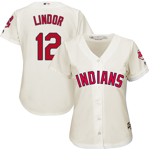 Women's Majestic Cleveland Indians #12 Francisco Lindor Authentic Cream Alternate 2 Cool Base MLB Jersey