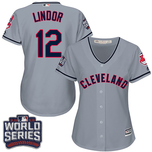 Women's Majestic Cleveland Indians #12 Francisco Lindor Authentic Grey Road 2016 World Series Bound Cool Base MLB Jersey