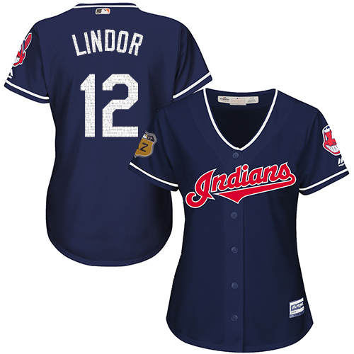 Women's Majestic Cleveland Indians #12 Francisco Lindor Authentic Navy Blue 2017 Spring Training Cool Base MLB Jersey
