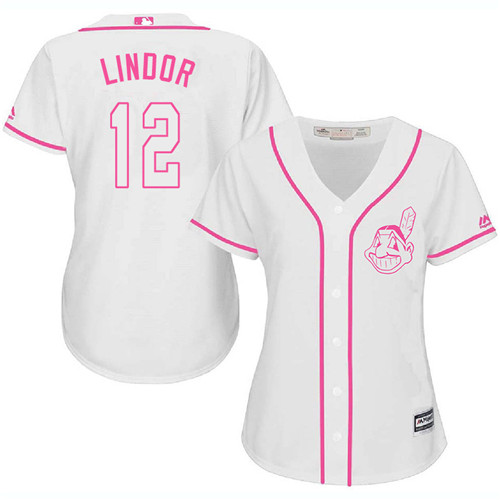 Women's Majestic Cleveland Indians #12 Francisco Lindor Authentic White Fashion Cool Base MLB Jersey