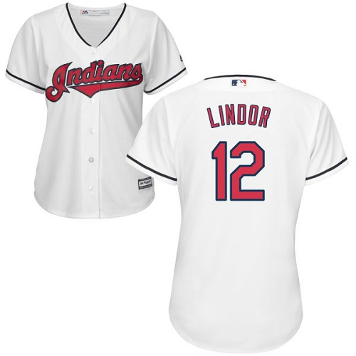 Women's Majestic Cleveland Indians #12 Francisco Lindor Authentic White Home Cool Base MLB Jersey