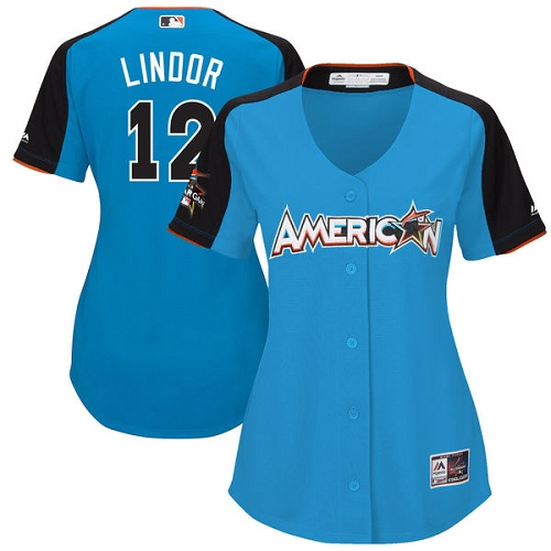 Women's Majestic Cleveland Indians #12 Francisco Lindor Replica Blue American League 2017 MLB All-Star MLB Jersey