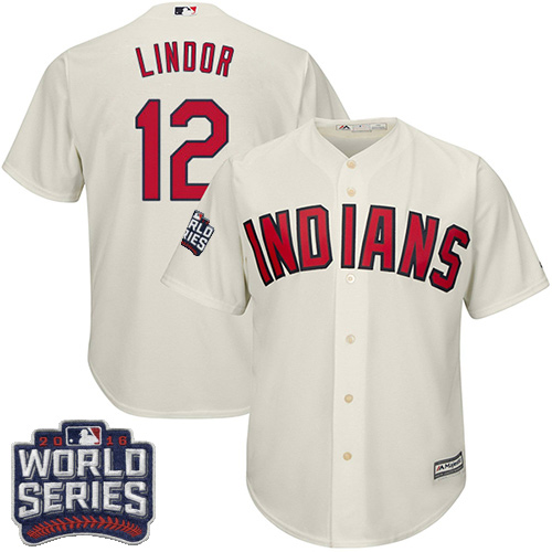 Youth Majestic Cleveland Indians #12 Francisco Lindor Authentic Cream Alternate 2 2016 World Series Bound Cool Base MLB Jersey