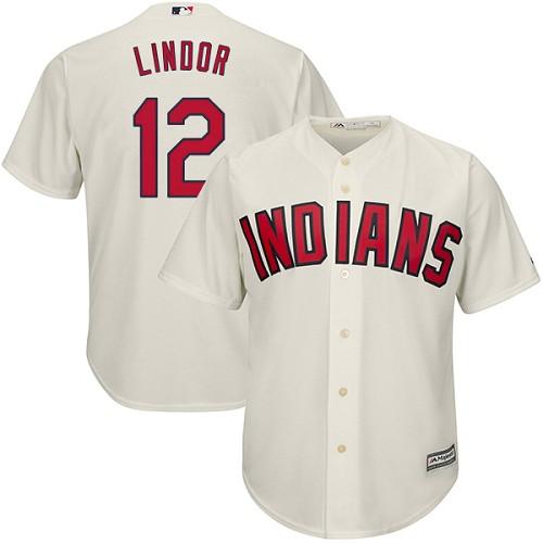 Youth Majestic Cleveland Indians #12 Francisco Lindor Authentic Cream Alternate 2 Cool Base MLB Jersey