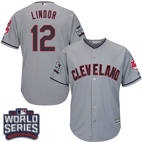 Youth Majestic Cleveland Indians #12 Francisco Lindor Authentic Grey Road 2016 World Series Bound Cool Base MLB Jersey