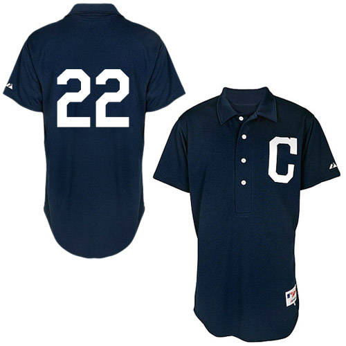 Men's Majestic Cleveland Indians #22 Jason Kipnis Authentic Navy Blue 1902 Turn Back The Clock MLB Jersey