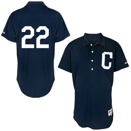 Men's Majestic Cleveland Indians #22 Jason Kipnis Replica Navy Blue 1902 Turn Back The Clock MLB Jersey