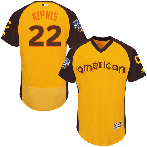 Men's Majestic Cleveland Indians #22 Jason Kipnis Yellow 2016 All-Star American League BP Authentic Collection Flex Base MLB Jersey