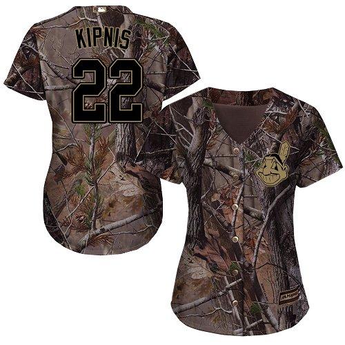 Women's Majestic Cleveland Indians #22 Jason Kipnis Authentic Camo Realtree Collection Flex Base MLB Jersey