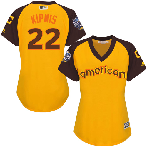 Women's Majestic Cleveland Indians #22 Jason Kipnis Authentic Yellow 2016 All-Star American League BP Cool Base MLB Jersey