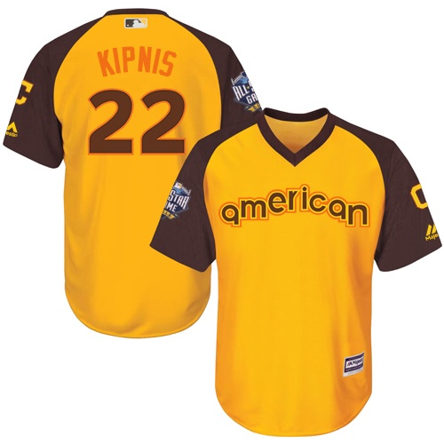Youth Majestic Cleveland Indians #22 Jason Kipnis Authentic Yellow 2016 All-Star American League BP Cool Base MLB Jersey