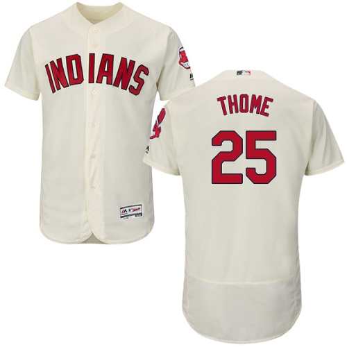 Men's Majestic Cleveland Indians #25 Jim Thome Cream Alternate Flex Base Authentic Collection MLB Jersey
