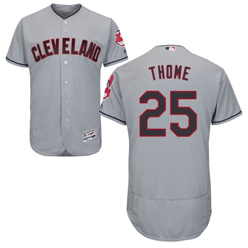 Men's Majestic Cleveland Indians #25 Jim Thome Grey Road Flex Base Authentic Collection MLB Jersey