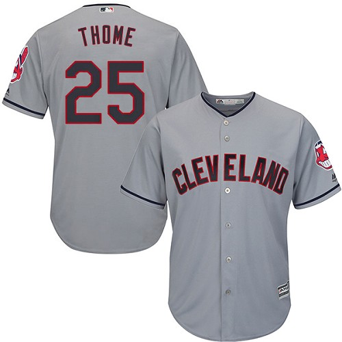 Men's Majestic Cleveland Indians #25 Jim Thome Replica Grey Road Cool Base MLB Jersey